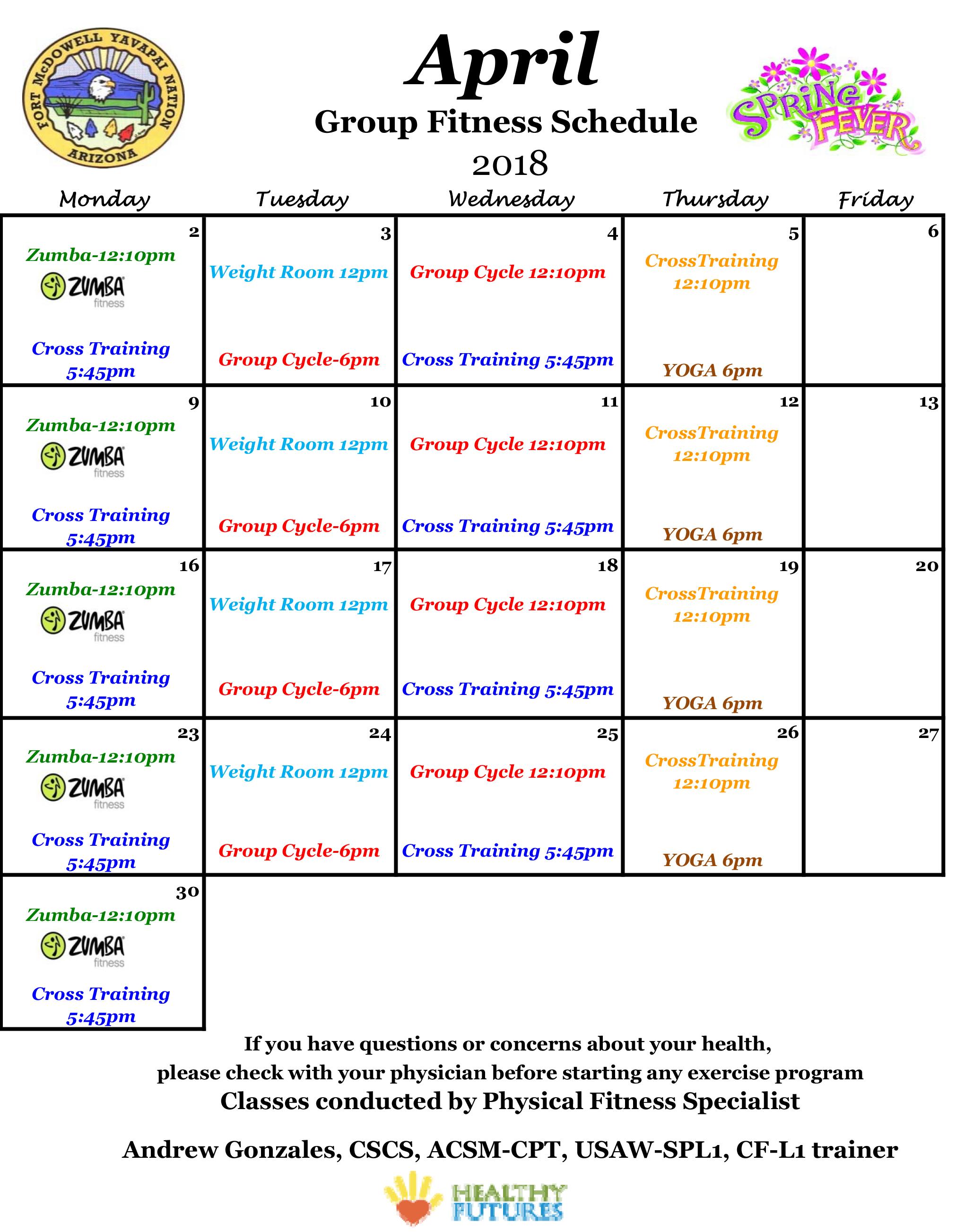 April Fitness Calendar Fort Mcdowell Yavapai Nation