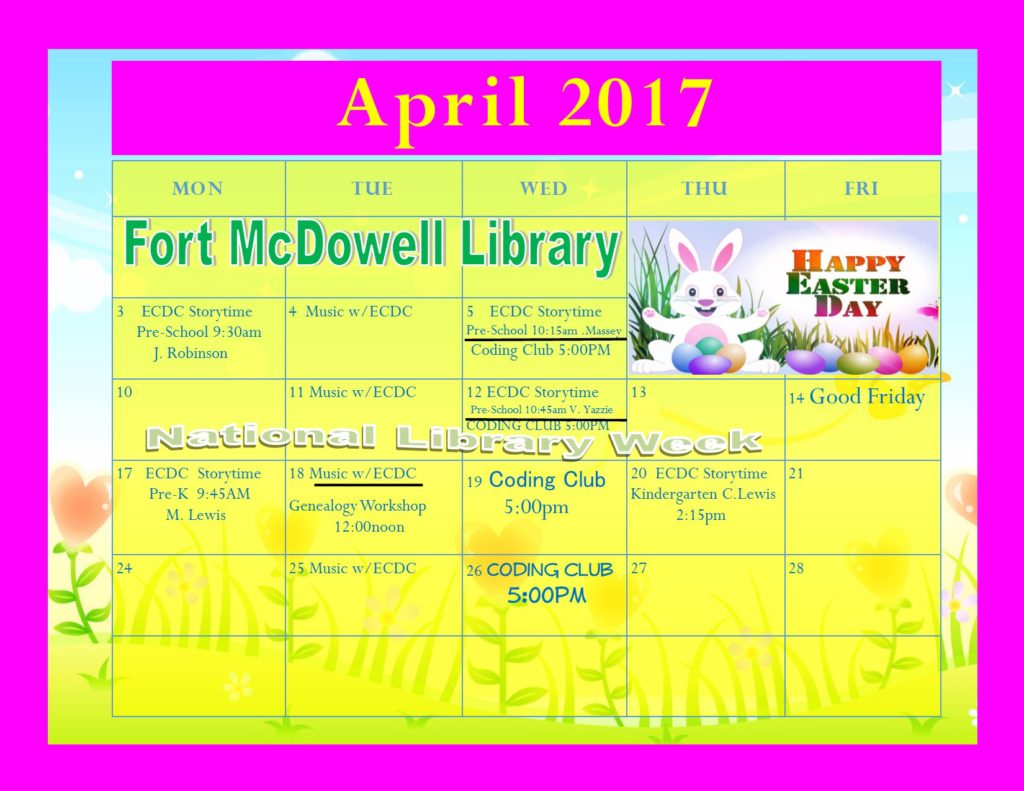 Tribal Library Events April 2017